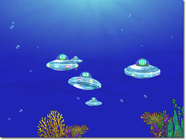 A UFO ( Underwater Flying Object ) school glides over a coral bed.